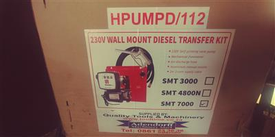 230 v wall mount diesel transfer kit, steel drums and flow bins