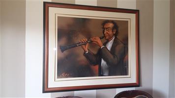 Original Van Rensburg Painting / Flute Player