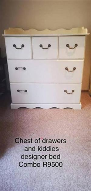 Chest of drawers and kiddies bed for sale