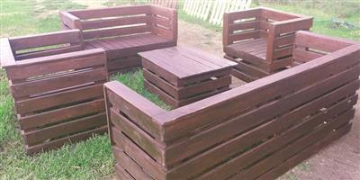 Wooden benches, chairs and tables