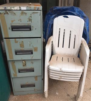 Steel cabinet and Garden chairs