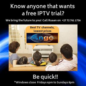 Free 24 hour Trial of the Wrap App IPTV by NGC