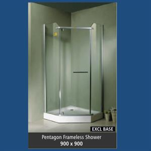 Pentagon Frameless Shower - Frameless