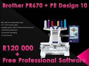 Black Friday Specials - Industrial Embroidery: Brother PR670 + free software valued @ R10 000