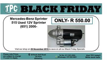 BLACK FRIDAY 29 NOV  Mercedes-Benz Sprinter 515 Used 12V Sprinter (651) Starter Motor 2006- For Sale.