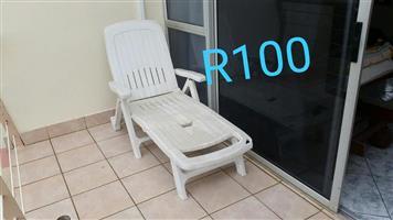 White pool lounger