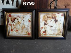 2 x Classic Vintage Framed Pictures (650x650)