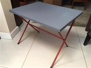 Compact Retro / vintage metal camping all-purpose table with folding legs