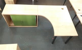 L shape desk plus sliding door credenza