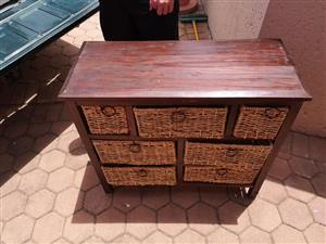 Wooden basket drawer unit