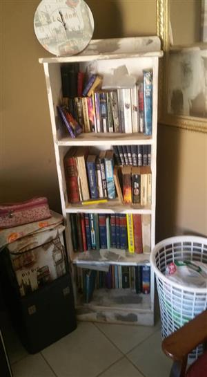 White 4 Tier shelf with books