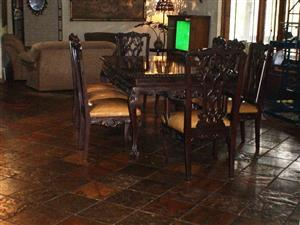 Leather & Wood Dining Suite hand crafted, 7x Chairs Table plus Two Side Servers