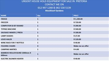 Urgent HOUSEHOLD GOODS FOR SALE - VOETSTOOTS