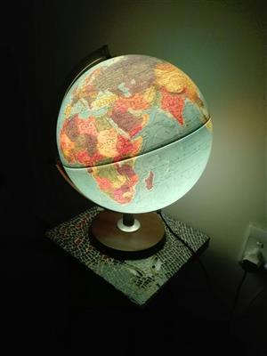 Illuminated globe of the world