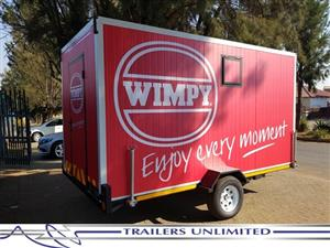 TRAILERS UNLIMITED - WIMPY MOBILE KITCHEN. 4000 X 2000 X 2000MM SINGLE AXLE UNIT.