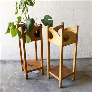 Nouveau Oak Plant Stand