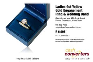 Ladies 9ct Yellow Gold Engagement Ring & Wedding Band