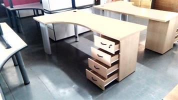 Mapel l shape desk plus pedestal