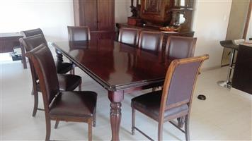 Dining room suite. Mahogany and leather