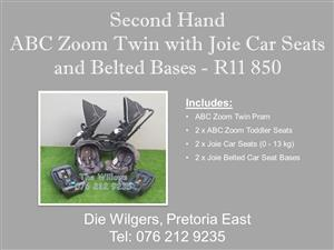 Second Hand ABC Zoom Twin with Joie Car Seats and Belted Bases