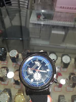 Black strap blue watch