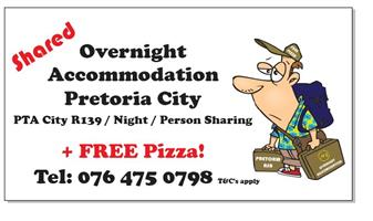 Dormitory style Student Accommodation PTA Free pizza. R1000 Stephen 0764750798