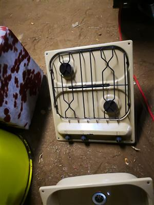 Caravan stove and washing basin