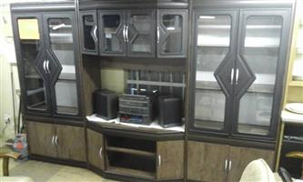 Dark grey and wooden 3 piece wall unit