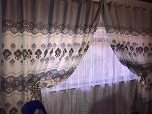 Grey and white floral sequence curtains