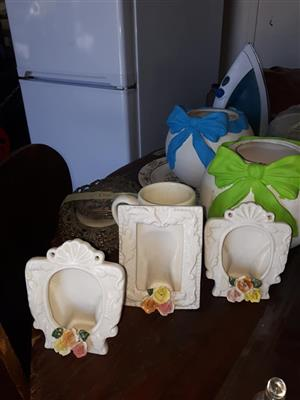 White frames and flower pot for sale