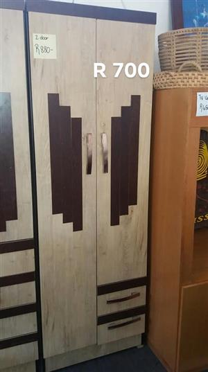 Dark brown and beige 2 door closet