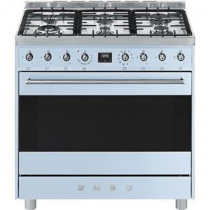Smeg - 90CM Symphony Cooker With 6 Burner Gas Hob And Multifunction Oven - Pastel Blue
