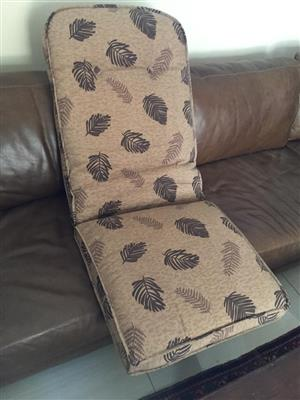Pair of Patio chairs cushions & a matching pair of chair cushions - priced for all 4 cushions