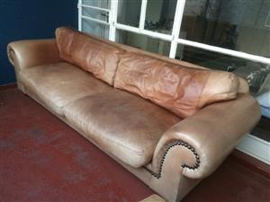 Large Leather Chesterfield Couch