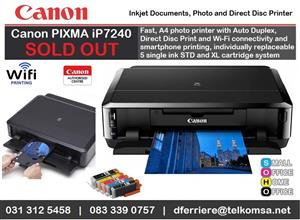 Canon iP7240 Inkjet Printer is now End-Of-Life and replaced by Canon PIXMA TS704 Direct Disc Printer - R1400.00