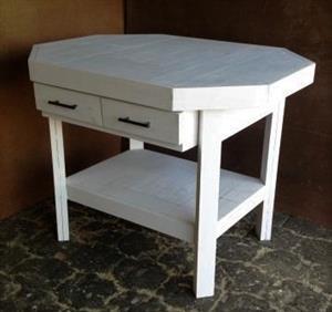 Kitchen Island Farmhouse series 1170 Octangular with drawers White washed