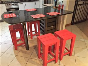 Bar Stool Cottage series 330 square (medium) Chalk paint - Red
