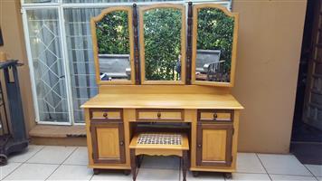 Beautiful imbuia and yellow wood dressing table & stool.