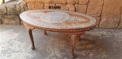 Ivory Inlaid Indian Antique Oval Coffee Table (900x490x390)