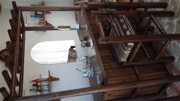 Rustic log Bar Counter and three matching Bar Stools