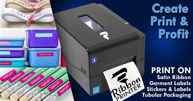The ribbon printer is ideal for printing onto satin ribbons, stationery stickers and garment tags