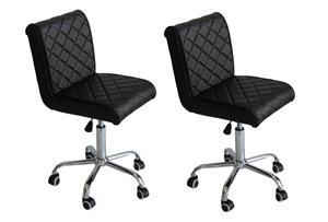 Hazlo Modern Adjustable Swivel Faux Leather Kitchen Bar Stool Chair (Set of 2)
