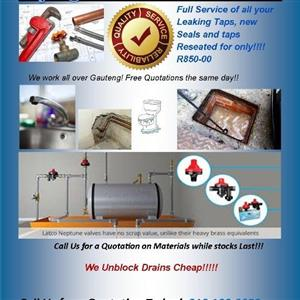 Plumbing Issues, Block Drains, Leaking Taps, Reseated, Geysers Installations