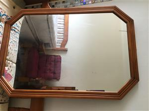 Oak colour varnished huge framed mirror, in perfect condition.  Call 0826632575