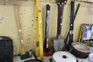 Various shovels and axes for sale