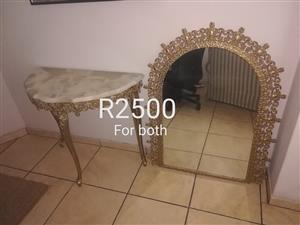 Vintage mirror and half moon table