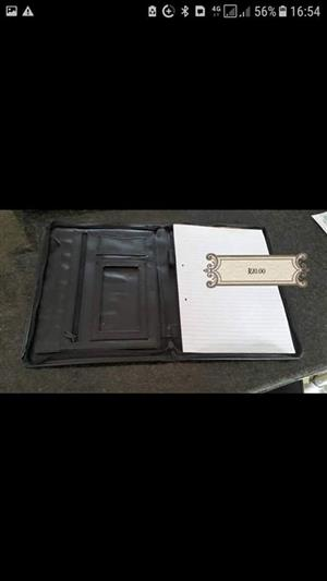 Black leather file folder