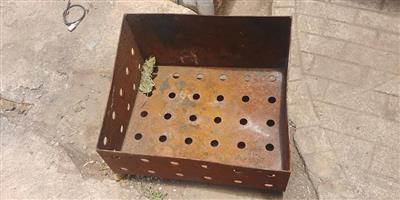 Steel rusted crate with holes