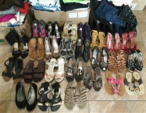 29 pairs of ladies high heels, boots and sandals