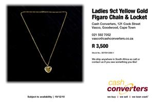 Ladies 9ct Yellow Gold Figaro Chain & Locket